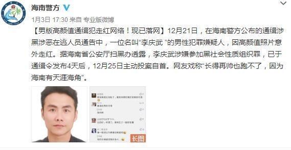 """男版高颜值通缉犯""""李庆武 """"落网 再帅也跑不出天涯海角"""