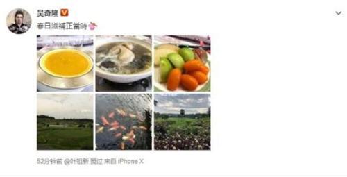 吴奇隆晒孕妇餐 看来刘诗诗被照顾的不错!