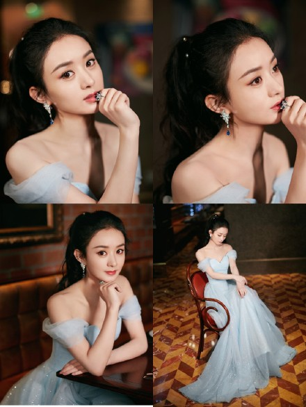 赵丽颖蓝色纱裙现身盛典 高卷发马尾优雅妩媚