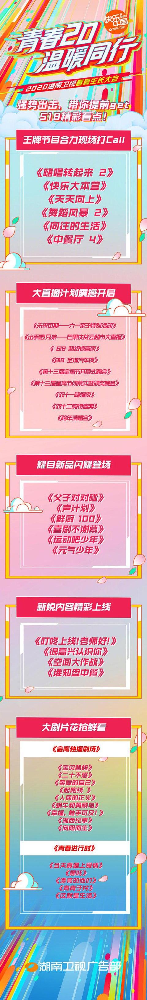 湖南卫视综艺片单公布 你pick哪一个?